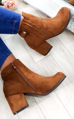 View the Klarissa Faux Suede Gold Button Ankle Boots online at iKrush