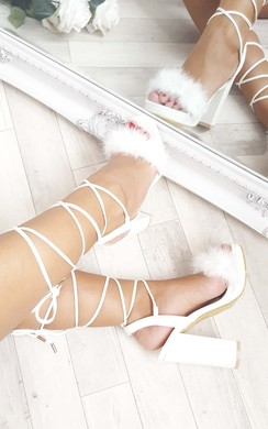 View the Loucia Fluffy Lace Up High Heels  online at iKrush