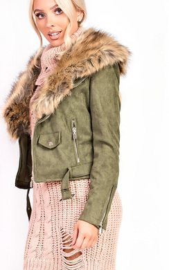 View the Brienna Faux Fur Suede Biker Jacket online at iKrush