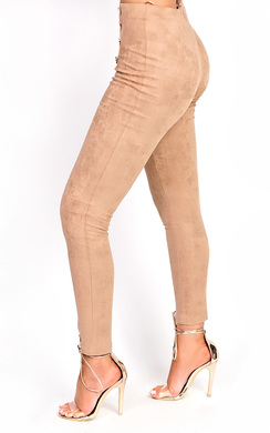 View the Tianna High Waist Button Faux Suede Leggings online at iKrush