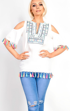 View the Florina Cold Shoulder Tassel Blouse Top online at iKrush