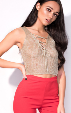 View the Jada Metallic Knitted Tie Top online at iKrush