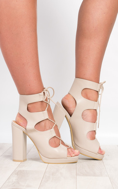 View the Oralia Block Lace-Up Heels  online at iKrush