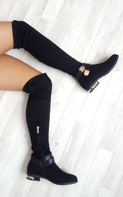 View the Irena Faux Suede Gold Bar Knee High Boots online at iKrush