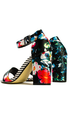 View the Vela Floral Striped Peep Toe Heels online at iKrush
