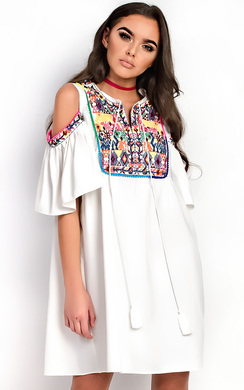 View the Abi Pattern Bright PomPom Shift Dress online at iKrush