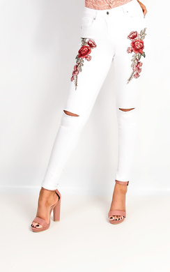 View the Liza Embroidered Ripped Skinny Jeans online at iKrush