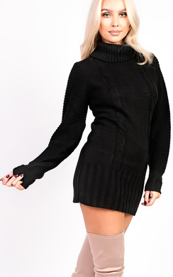 View the Ava Knitted Polo Neck Dress online at iKrush