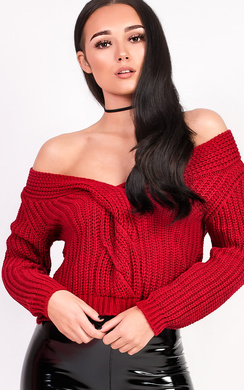 View the Daisy Plunge Knitted Jumper online at iKrush