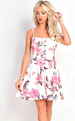 View the Elle Strappy Lace Up Floral Skater Dress online at iKrush