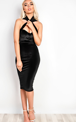 View the Tyler Velour Choker Neck Bodycon Dress online at iKrush