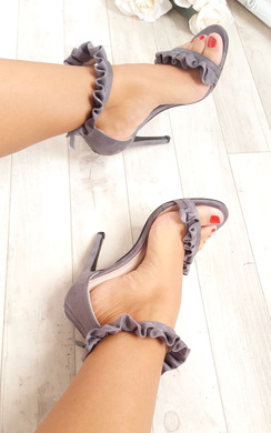 View the Loratina Faux Suede Frill Barely There Heels online at iKrush