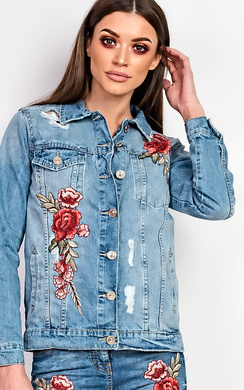 View the Dariela Embroidered Denim Jacket  online at iKrush