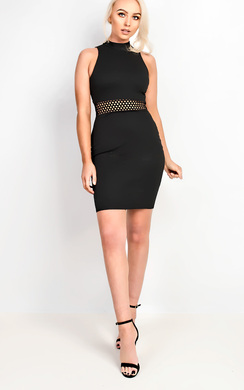 View the Marilia High Neck Lace up Back Bodycon Dress online at iKrush
