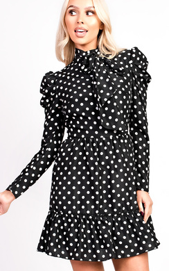 View the Emily Polka Dot Tie Neck Blouse Peplum Dress online at iKrush