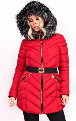 View the Stella Padded Faux Fur Hooded Belted Jacket online at iKrush