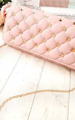 View the Laylia Quilted Gold Studded Clutch Bag online at iKrush