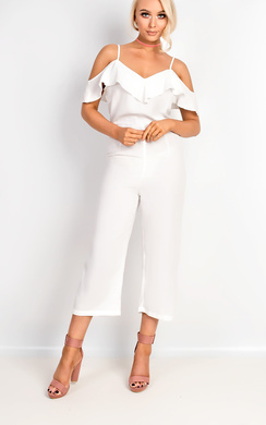 View the Aleah Cold Shoulder Frill Jumpsuit online at iKrush