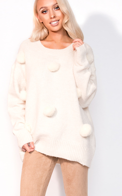 View the Harley Faux Fur Pom Pom Knitted Jumper online at iKrush