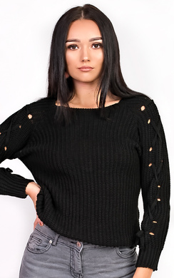 View the Evie Knitted Lace Up Jumper online at iKrush