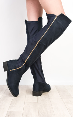 View the Chelsie Faux Suede Knee High Flat Boots online at iKrush
