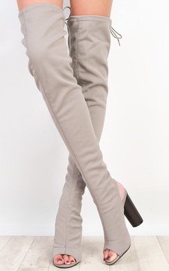 View the Kim Peep Toe Knee High Boots online at iKrush