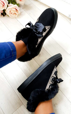 View the Shyla Faux Suede Fluffy Trainers online at iKrush