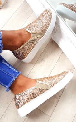 View the Alex Slip On Chunky Glitter Trainers online at iKrush
