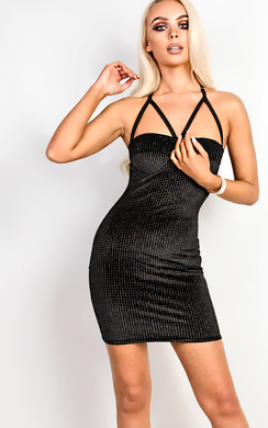 View the Carissa Sparkly Strappy Bodycon Dress online at iKrush