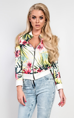View the Ava Floral Bomber Jacket online at iKrush