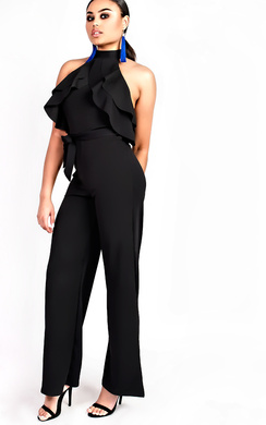 View the Courts Flared Wide Leg Halterneck Jumpsuit online at iKrush