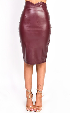 View the Raila Faux Leather Midi Pencil Skirt  online at iKrush