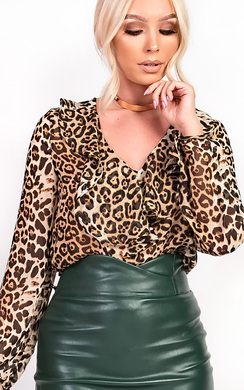 View the Sorelle Frill Leopard Print Blouse Top online at iKrush