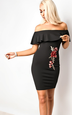 View the Ella Floral Off Shoulder Bodycon Dress online at iKrush