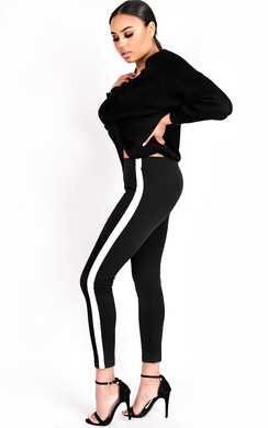 View the Rachelle Striped Slim Fit Leggings online at iKrush