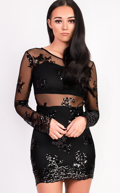 View the Kelly Mesh Sequin Bodycon Dress online at iKrush