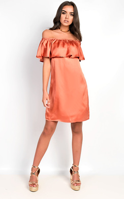 View the Rhodes Satin Bardot Dress online at iKrush