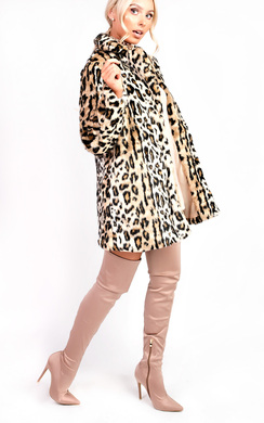 View the Ula Faux Fur Leopard Coat online at iKrush