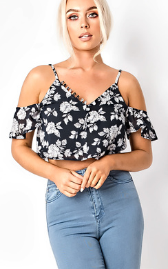 View the Miah Floral Print Crop Top  online at iKrush