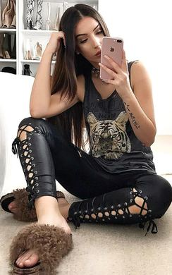 View the Roxy Lace Up PU Leggings online at iKrush