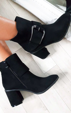 View the Carms Large Buckle Faux Suede Ankle Boots online at iKrush