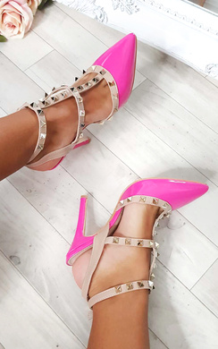 View the Kirsty Multi Strap T-Bar Studded Court Heels online at iKrush