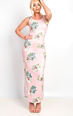 View the Sierra Bodycon Floral Zip Side Maxi Dress online at iKrush