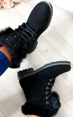 View the Josie Faux Fur Lace Up Boots online at iKrush