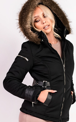 View the Anisa Padded Faux Fur Hooded Jacket online at iKrush