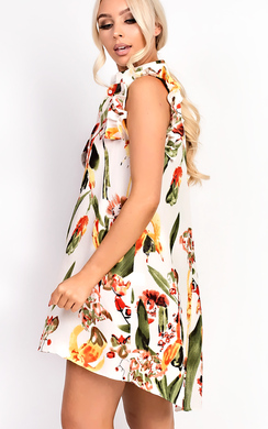 View the Bella Button Front Floral Frill Dress online at iKrush