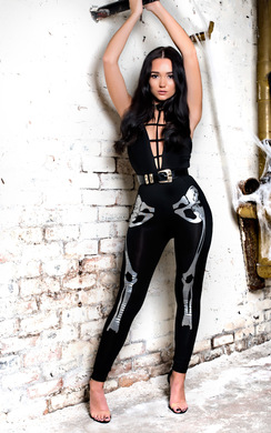 View the Skeleton Fancy Dress Metalic Leggings online at iKrush