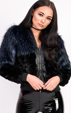 View the Kayla Faux Fur Bomber Jacket online at iKrush