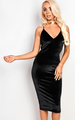 View the Mayan Velvet Strappy Bodycon Dress online at iKrush
