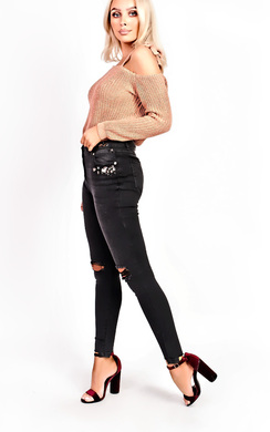 View the Clara Ripped Embellished Skinny Jeans online at iKrush